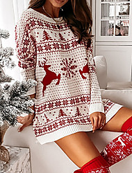 cheap -Women's Sweater Knitted Argyle Stylish Long Sleeve Sweater Cardigans Crew Neck Fall Winter White / Christmas