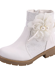 cheap -Girls' Boots Flower Girl Shoes Lace Wedding Fashion Boots Big Kids(7years +) Little Kids(4-7ys) Wedding Party Party & Evening Pearl Flower Split Joint Pink White Fall Winter / Mid-Calf Boots / Rubber