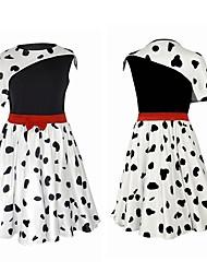 cheap -One Hundred and One Dalmatians Cruella De Vil Dress Masquerade Girls' Movie Cosplay Vacation Halloween Black Skirt Halloween Carnival Masquerade Polyester