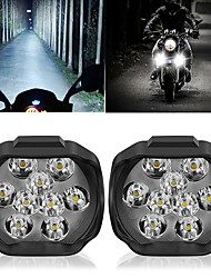 cheap -OTOLAMPARA Motorcycle Headlight 9LED 18W DC12V Super Bright Fog Spot White Work Light Internal Drive For Motorcycles Electric Bicycles 2pcs