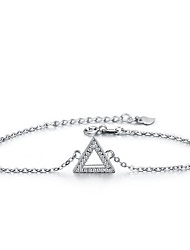 cheap -Women's Clear Cubic Zirconia Bracelet Geometrical Heart Stylish Simple S925 Sterling Silver Bracelet Jewelry Silver For Daily Promise