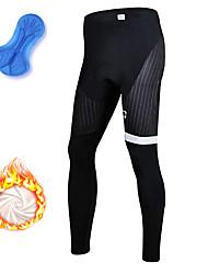 cheap -21Grams Men's Cycling Tights Winter Fleece Spandex Bike Tights Fleece Lining Warm Moisture Wicking Sports Stripes Black Mountain Bike MTB Road Bike Cycling Clothing Apparel Bike Wear / Athleisure
