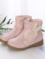 cheap -Girls' Boots Flower Girl Shoes Lace Wedding Fashion Boots Big Kids(7years +) Little Kids(4-7ys) Wedding Party Party & Evening Pearl Split Joint Pink White Fall Winter / Mid-Calf Boots / Rubber