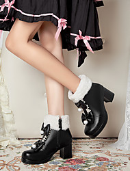 cheap -Women's Lolita Shoes Chunky Heel Round Toe Booties Ankle Boots Party Wedding PU Bowknot Solid Colored White Black Light Pink / Booties / Ankle Boots