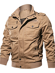 cheap -Men's Jacket Street Daily Going out Spring Regular Coat Zipper Stand Collar Loose Thermal Warm Breathable Sporty Casual Jacket Long Sleeve Plain Pocket Khaki Black Army Green / Outdoor