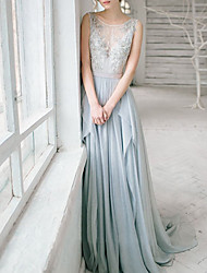 cheap -A-Line Wedding Dresses Jewel Neck Sweep / Brush Train Chiffon Lace Sleeveless Romantic Luxurious with Pleats Sequin Appliques 2021