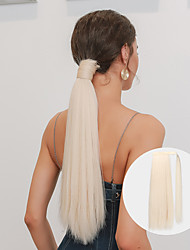 cheap -Long Straight Wrap Around Clip In Ponytail Hair Extension Heat Resistant Light Blonde Synthetic Pony Tail Fake Hair