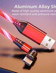 cheap -Micro USB Lightning USB C Cable All-In-1 LED Charging cable 2.4 A 2.0m(6.5Ft) 1.0m(3Ft) TPE Aluminium Alloy For Samsung Xiaomi Huawei Phone Accessory