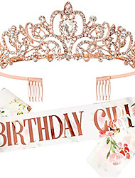 cheap -1 Piece Fashion Print Birthday Girl Birthday Girl Birthday Belt Shoulder Strap Crown Set Crystal Headwear