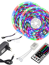 cheap -LED Strip Lights (2x5M)10M 32.8ft 2835 RGB 600LEDs 8mm Strips Lighting Flexible Color Changing with 44 Key IR Remote Ideal for Home Kitchen Christmas TV Back Lights DC 12V