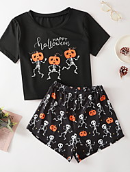 cheap -Women's Pajamas Sets Home Halloween Daily Elastic Waist Cartoon Letter Polyster Helloween Funny Soft T shirt Shorts Spring Summer Short Sleeve Short Pant Not Specified