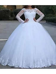 cheap -Princess A-Line Wedding Dresses Jewel Neck Floor Length Lace Tulle Long Sleeve Romantic Luxurious with Appliques 2021
