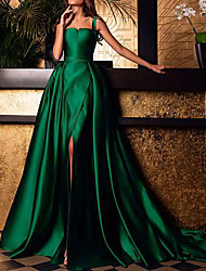 cheap -A-Line Elegant Prom Formal Evening Dress Scoop Neck Sleeveless Sweep / Brush Train Polyester with Overskirt Split Front 2021