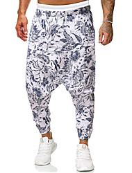 cheap -Men's Sweatpants Elastic Waistband Pocket Cotton Flower Sport Athleisure Pants Bottoms Breathable Sweat Out Comfortable Everyday Use Street Casual Daily / Summer