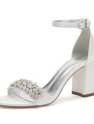 cheap -Women's Wedding Shoes Chunky Heel Open Toe Wedding Satin Solid Colored Green / Blue Purple Yellow