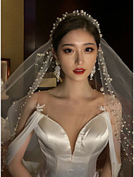 cheap -One-tier Cute / Sweet Wedding Veil Fingertip Veils with Beading Tulle