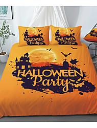 cheap -Print Home Bedding Duvet Cover Sets Soft Microfiber For Kids Teens Adults Bedroom Halloween Bats 1 Duvet Cover + 1/2 Pillowcase Shams