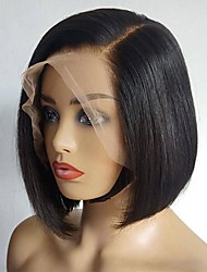 cheap -13x4 Lace Bob Wig Peruvian Human Hair Straight T Part Lace Wigs 10 Inch Short Wigs 1b # Color Human Hair Wig for Black Women