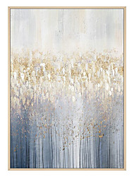 cheap -Oil Painting Handmade Hand Painted Wall Art Vertical Modern Abstract Dark Blue and Golden Picture Home Decoration Decor Rolled Canvas No Frame Unstretched