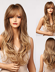 cheap -Synthetic Wig Natural Wave Deep Wave With Bangs Wig 24 inch Ombre Brown Synthetic Hair Women's Soft Natural New Arrival Ombre Brown
