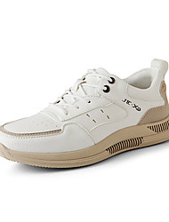 cheap -Men's Trainers Athletic Shoes Lace up Sporty Look Leather Shoes Sporty Casual Classic Athletic Daily Running Shoes Leather Tissage Volant Non-slipping Height-increasing Shock Absorbing Black Beige