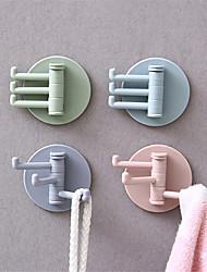 cheap -3Pcs Rotatable Seamless Adhesive Hook Strong Bearing Stick Hook Kitchen Wall Hanger Bathroom Kitchen supplies Hooks
