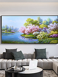 cheap -Original Forest Painting on Canvas Handmade Hand Painted Wall Art Stretched Frame Ready to Hang Large Abstract Water Mirror Landscape Acrylic Painting Living Room Wall Art Decor