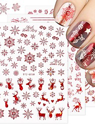 cheap -4 pcs 3D Rose Gold Nail Stickers Snowflakes Red Christmas Gifts Nail Art Decals Sliders Glitter Foils Winter Decorations