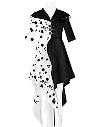 cheap -One Hundred and One Dalmatians Cruella De Vil Outfits Party Costume Women's Movie Cosplay Party Polka Dots Charm Black Coat Gloves Halloween Carnival Masquerade Polyester / Cotton