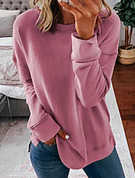 cheap -Women's T shirt Dress Blouse Plain Long Sleeve Round Neck Tops Blushing Pink Khaki Navy Blue