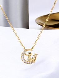 cheap -Pendant Necklace Women's Geometrical Clear S925 Sterling Silver Star Dainty Luminous Wedding Silver Gold White 21-50 cm Necklace Jewelry 1pc for Wedding C Shape