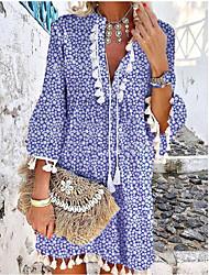 cheap -Women's Sundress Knee Length Dress Royal Blue Light gray Red 3/4 Length Sleeve Floral Tassel Fringe Print Fall Summer V Neck Boho Flare Cuff Sleeve 2021 S M L XL XXL 3XL / 3D Print