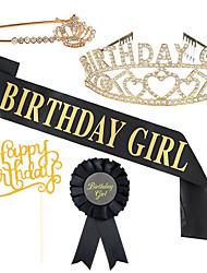 cheap -1 Piece Birthday Girl Birthday Crown Strap Brooch 5-piece Set Cake Insert Badge Birthday Dress Up
