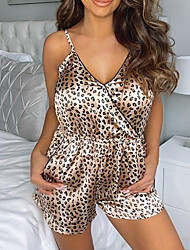 cheap -Women's Breathable Pajamas Jumpsuits Home Daily Bed Valentine's Day Backless Print Leopard Polyester Satin Fashion Fall Summer V Wire Sleeveless Not Specified