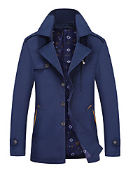 cheap -Men's Jacket Street Daily Going out Fall Spring Regular Coat Single Breasted Turndown Regular Fit Warm Breathable Casual Jacket Long Sleeve Plain Pocket Blue Khaki Black / Outdoor