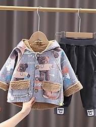 cheap -2 Pieces Baby Boys' Clothing Set Fashion Street Style Sport Daily Cotton Blue Gray Khaki Print Print Long Sleeve Regular / Fall / Winter