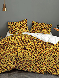 cheap -Print Home Bedding Duvet Cover Sets Soft Microfiber For Kids Teens Adults Bedroom Yellow Leopard Pattern 1 Duvet Cover + 1/2 Pillowcase Shams