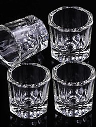 cheap -4PC Crystal Glass Acrylic Acrylic Powder Liquid Nail Cup Dappen Dish Lid Bowl Cup Holder Equipment Nail Tools