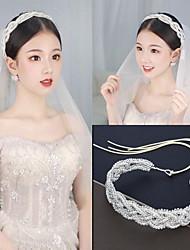 cheap -Simple Bride Fairy Korean Hair Accessories Hand-beaded Hairband Rhinestone Crystal Claw Chain Wedding Dress Hair Accessories