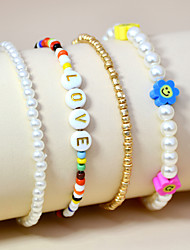 cheap -4pcs Women's Bead Bracelet Beads Flower Shape Holiday Casual / Sporty Cute Sweet Boho Pearl Bracelet Jewelry Rainbow For Gift Daily Holiday Prom Festival