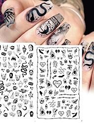 cheap -5 pcs/Sheet Black Snake 3D Nail Art Decals Sticker Halloween Eyes Clown Blood Scratches Adhesive Polish Slider Nail Tattoo