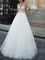 cheap -A-Line Wedding Dresses Jewel Neck Court Train Lace Tulle Sleeveless Romantic Sexy Luxurious with Appliques 2021