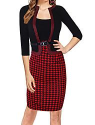 cheap -Women's Sheath Dress Knee Length Dress Gray White Black Red 3/4 Length Sleeve Polka Dot Houndstooth Plaid Ruched Fall Round Neck Work Formal 2021 S M L XL XXL 3XL 4XL 5XL