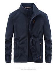 cheap -Men's Jacket Teddy Coat Daily Winter Regular Coat Regular Fit Thermal Warm Warm Sporty Jacket Long Sleeve Solid Color Pocket Black Dark Gray Navy Blue