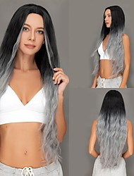 cheap -Rebcass Long Ombre Grey Deep Wave Synthetic Wigs Middle Part Heat Resistant Curly Hair Wigs for Black Women Party Free Cap