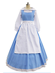 cheap -Belle Dress Cosplay Costume Outfits Women's Movie Cosplay Cosplay Blue Blouse Dress Apron Halloween Carnival Masquerade Cotton / Headwear