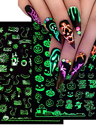 cheap -6 pcs Glowing Halloween Nail Art Sticker White Black Luminous 3D Adhesive Slider Christmas Manicure Decal Decorations