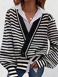 cheap -Women's Cardigan Knitted Striped Stylish Long Sleeve Sweater Cardigans V Neck Fall Gray Green Black