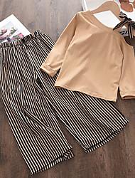 cheap -Kids Girls' T-shirt & Pants Clothing Set 2 Pieces Long Sleeve Khaki Stripe Cotton Casual Comfort Regular 3-6 Years / Fall / Spring