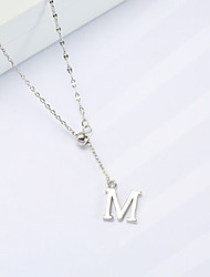 cheap -Pendant Necklace Women's S925 Sterling Silver Alphabet Shape Dainty Wedding Silver 45 cm Necklace Jewelry 1pc for Wedding irregular